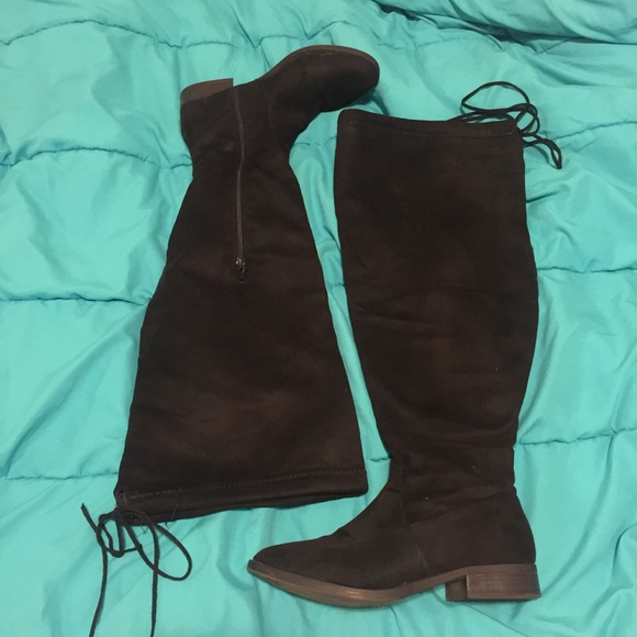 6dfabea8cb77 Charlotte Russe Shoes - WIDE CALF THIGH HIGH FAUX SUEDE BOOTS