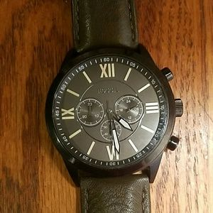 Men's Fossil Flynn Chronograph Leather Strap Watch