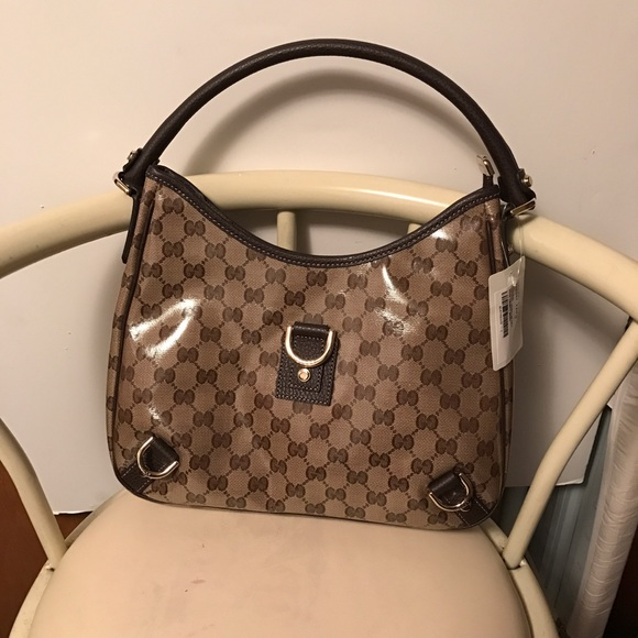 8ea96f8be60 Gucci Crystal Gg Canvas Abbey w D Ring Hobo Bag