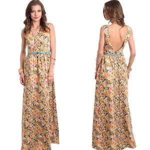 Ark & Co Dresses & Skirts - Mustard Floral Scoop Open Back Belted Maxi Dress