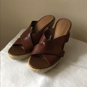 Merona brown vegan leather wedge mule