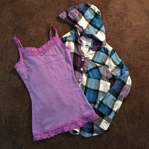 Justice Other - 💞Girls flannel and cami tops💞