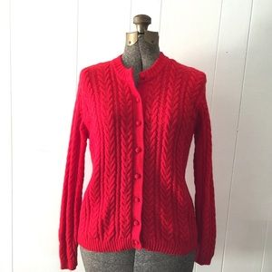 Vintage Cherry Red Cable Knit Cardigan Sweater / L