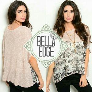 Bella Edge Tops - Pink gray chiffon floral top
