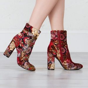 clmayfae Shoes - Bold Velvet Floral Ankle Booties