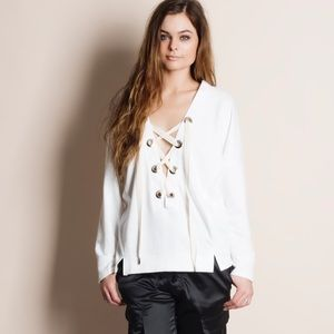 Lace Up Eyelet Sweater Top