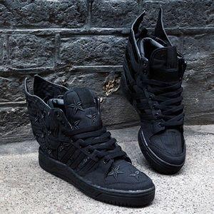 Jeremy Scott x Adidas Shoes - ASAP rocky X Jeremy Scott black flag sneakers rare