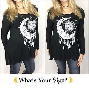 Tops - 🔴PRICEDROP🔴Celestial Long Sleeve Tee Tunic SM