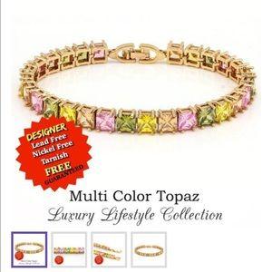 Jewelry - 18K Gold Filled 20.CT Multi Color Topaz Bracelet