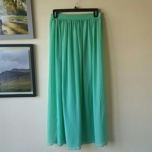 American apparel chiffon mint maxi skirt