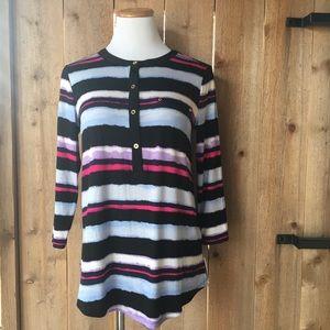 Ellen Tracy watercolor stripe loose fitting blouse