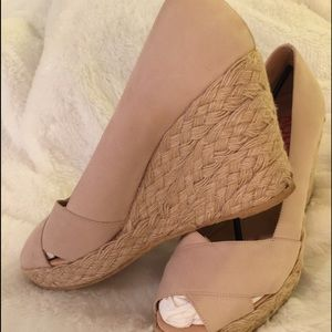 Michael Kors Shoes - Michael Kors beige, suede, heeled espadrilles