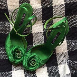 Ralph Lauren Black Label Shoes - Ralph Lauren Silk Green Rose Heels