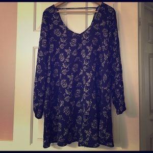 Wet Seal Dresses & Skirts - Wet Seal Navy Blue Floral Boho Tunic Dress Medium
