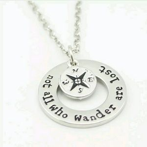 'Not All Who Wander Are Lost' Silver Necklace