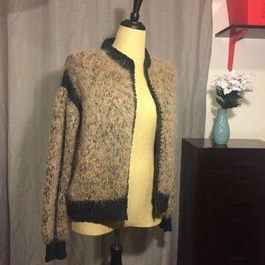 Sweaters - Fuzzy Knit Zip Up Sweater