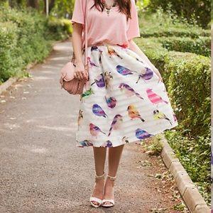 NWOT Chicwish bird midi skirt