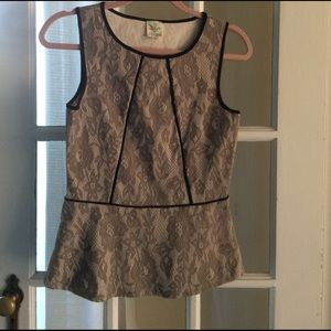 Anthropologie lace peplum top gray black size XS