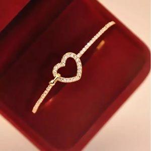 Jewelry - Gold Plated Rhinestone Heart Bangle Bracelet