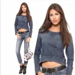 3x1 Tops - 3X1 NYC DENIM PULLOVER TOP WITH PAINT SPLATTERS XS