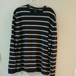 Men's navy blue and tan striped sweater