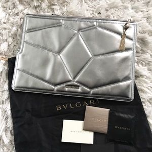 Bulgari Handbags - RARE Bulgari Serpent Silver Quilted Clutch Pouch
