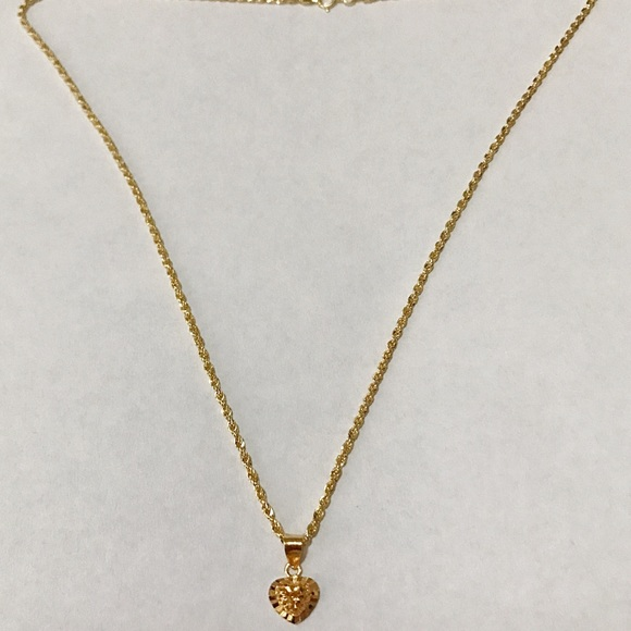 saudi gold Jewelry 18k Necklace With Heart Pendant Poshmark