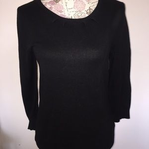 Banana Republic boat neck 3/4 sleeve black sweater