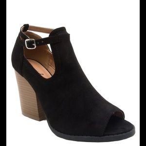 shoeroom21 boutique Shoes - Ladies high top peep toe ankle buckle strap bootie