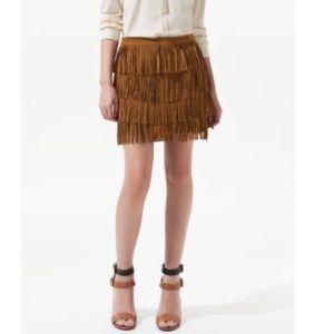 HTF Zara fringe skirt