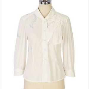 Anthropologie Tops - ANTHROPOLOGIE Blithe Plume Snap Front Blouse Top