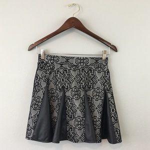 Joe B  Dresses & Skirts - Joe B Lace & Faux Leather Pleated Mini Skirt