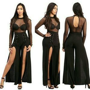 Pants - NWT Sheer mesh long sleeves top jumpsuit