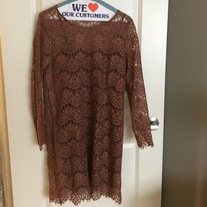 Broadway and Broome (Madewell) Mocha Lace Dress