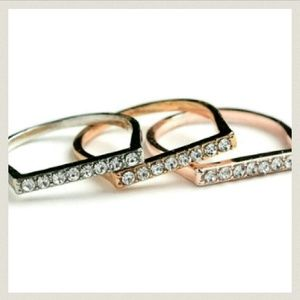Jewelry - Jewelry | PAVE CRYSTAL BAR TRI TONE GOLD RINGS