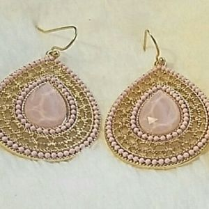 Couleur NY Jewelry - Gorgeous Pink Deco Teardrop Style Earrings
