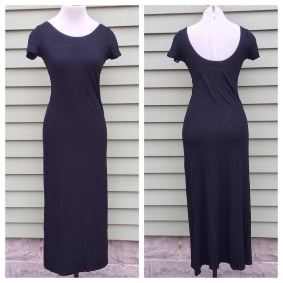 Atid Clothing Dresses & Skirts - Black Scoop Back Midi Maxi Dress