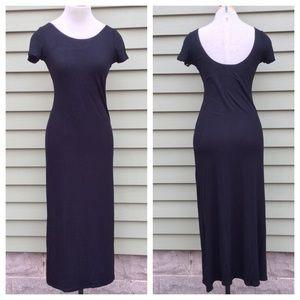 Black Scoop Back Midi Maxi Dress