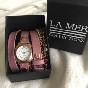 La Mer rose gold wrap watch