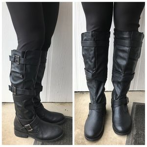 Bamboo Jagger buckle black riding boots
