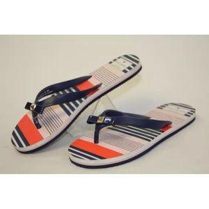 kate spade Shoes - Kate Spade Striped Bow Stud Flip Flops Sandals