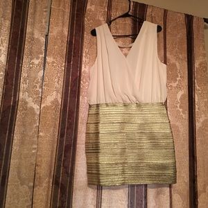 NWOT Cream and gold dress