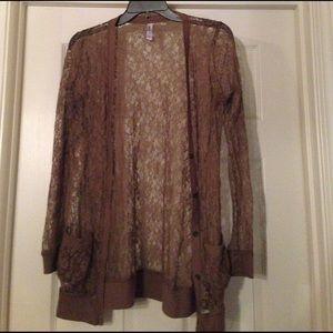 Xhilaration Sweaters - Brown lace cardigan