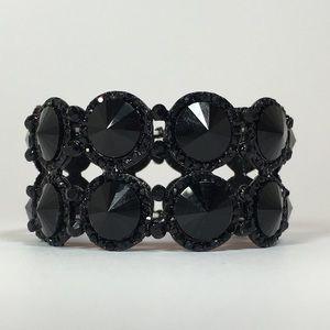 🐾Burlingame Bracelet - Black with Black Crystals