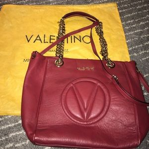 Valentino leather purse red gold chain tote red