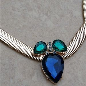 Gold Tone Statement Blue Crystal Snake Necklace