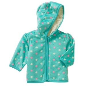 Other - 18M Eared Cozy Fleece and Sherpa Polka Dot Hoodie