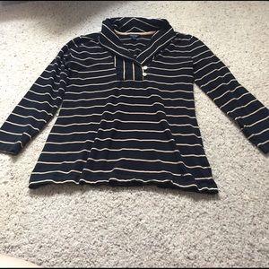 Nautica Tops - Nautica black & tan striped top