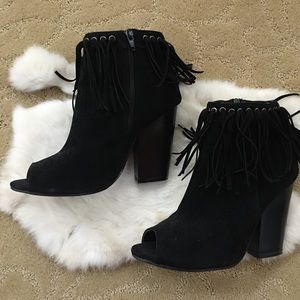 ANGL Shoes - Black open toe boot heels with fringe