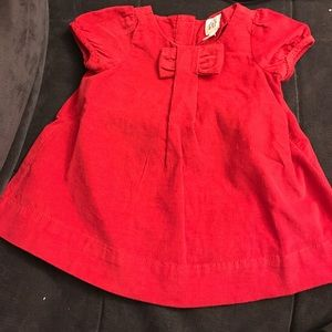 NWT BabyGap red courdoroy dress with a bow!